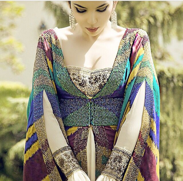 Uzbek ikat dress design