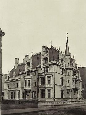 Petit Chateau was a Châteauesque mansion at 660 Fifth Avenue on the Upper East Side in New York City. It was built for William Kissam Vanderbilt & Alva Vanderbilt from 1878 to 1882. Determined to make her mark in New York society, Alva Vanderbilt worked with the architect, Richard Morris Hunt, to create the French Renaissance-style chateau. It was sold to a real-estate developer in 1926 & demolished. In a draft of her memoirs, Alva, then Mrs. Belmont, merely noted the demolition in passing.