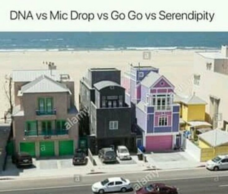 they got dna and go go wrong, go go is all about dollar dollar spend money so it should be the first house bc that house looks like a goddamn dollar bill and dna is all 'the gay is in my dna' colorful gay shit so it should be that third house  do u get me