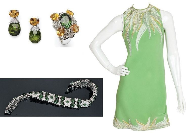 A circa 1967 Pierre Cardin haute couture green sequined silk crêpe cocktail dress that features a keyhole opening at the back. The main draw of this slinky silk cocktail dress are the shades of yellow, green and light violet appliquéd and embroidered opalescent sequins and beads in spiky, curved shapes by Jean-Guy Vermont. Dress 1stdibs  High jewelry - dress matching and photo Ansuini since 1860