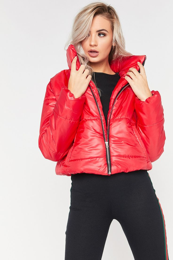 Ruby Red Cropped Puffer Jacket