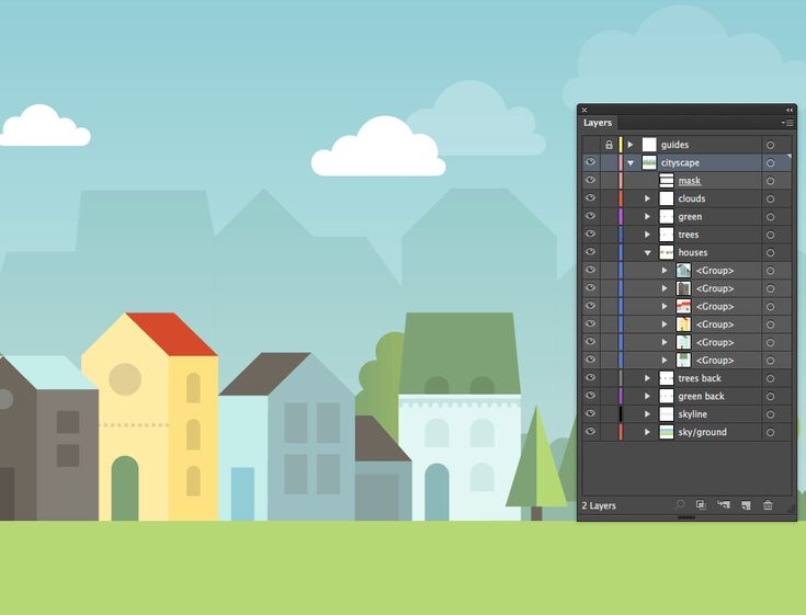 Layer panel of the cityscape illustration in Adobe Illustrator