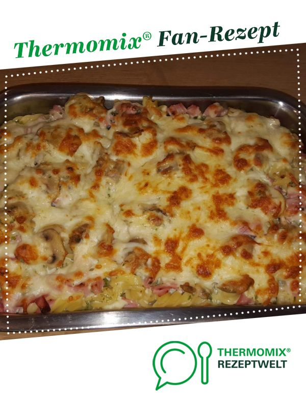 Pasta gratin with ham and mushrooms   – thermomix