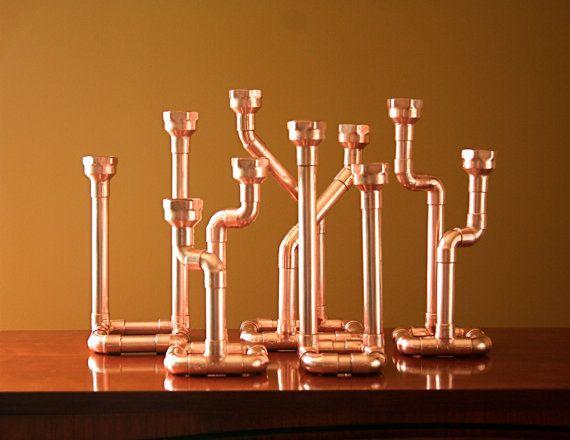 Décor industriel tuyauterie en cuivre chandelier, bougeoir, pièce maîtresse, candélabres sur Etsy, 41,69€