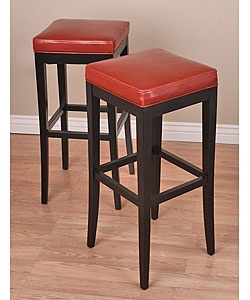 Kari Burnt Red Leather Barstools Set Of 2 Buena Vina