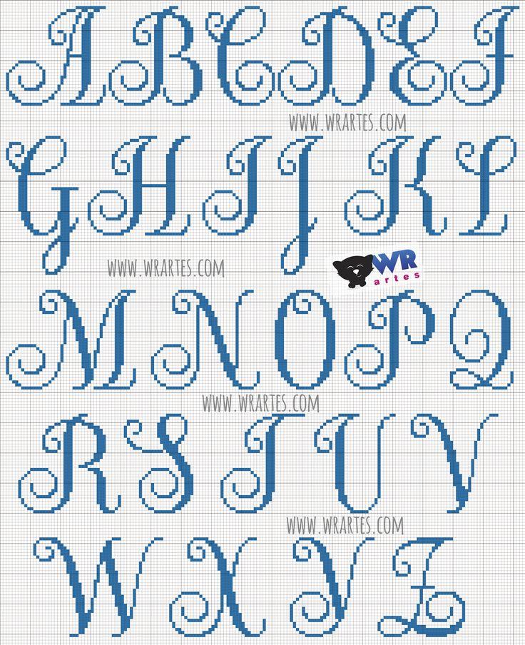 Gráfico alfabeto maiúsculo para ponto cruz                                                                                                                                                     Mais