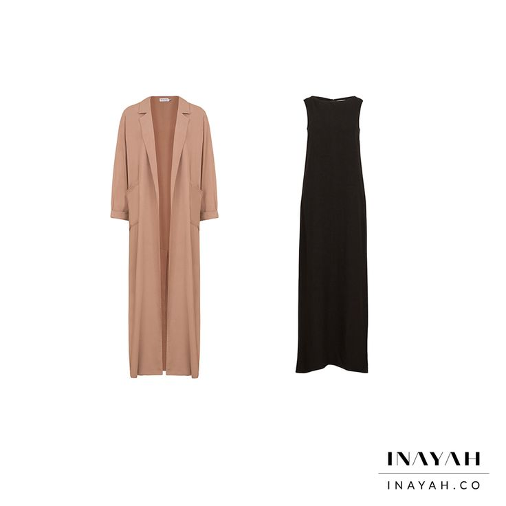 Modest minimal outerwear and comfortable slip dresses added a chic layered edge to your look. Sand Oversized #Maxi #Coat Maxi Black Cotton Slip #Dress www.inayah.co