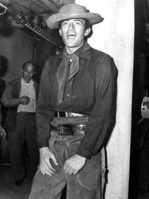Gregory Peck on the set of Duel in the Sun, 1946