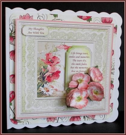 VINTAGE POPPIES DAISIES 6x6 Card Topper Decoupage on Craftsuprint designed by Janet Briggs - made by Rae Trees