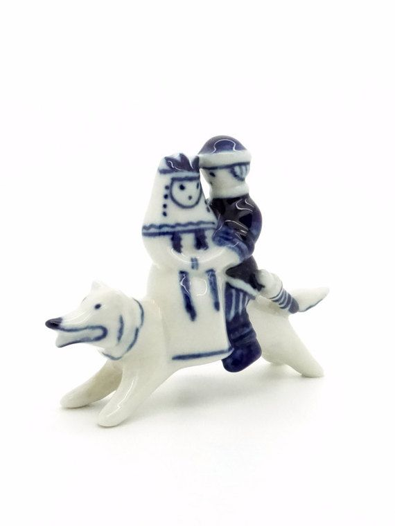 Vintage Gzhel <b>White</b> & <b>Blue Porcelain</b> Figurine - Prince Ivan and ...