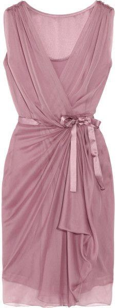 Alberta Ferretti Silk-chiffon Wrap Dress in Purple