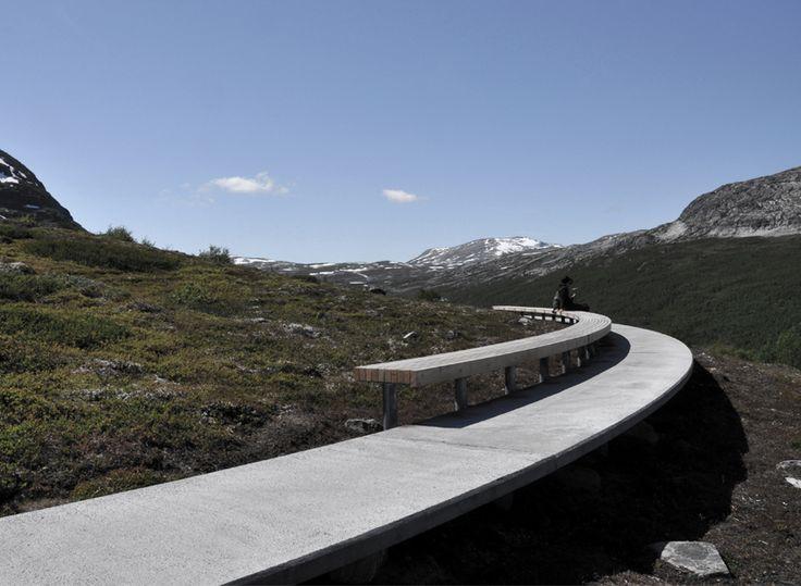 LJB arkitektur build a 'floating' mountain path + oak bench
