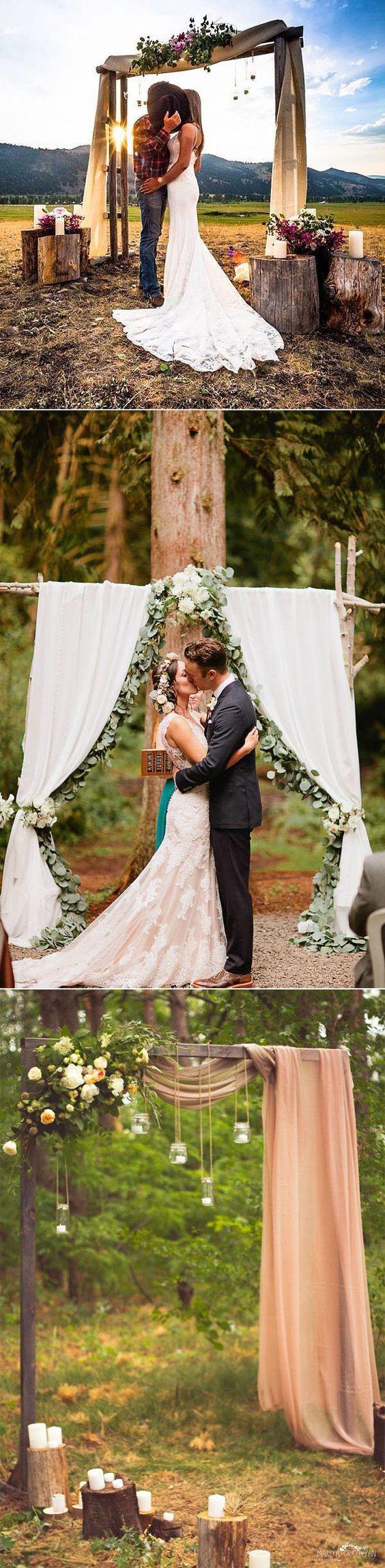 romantic easy DIY rustic wedding arches ideas
