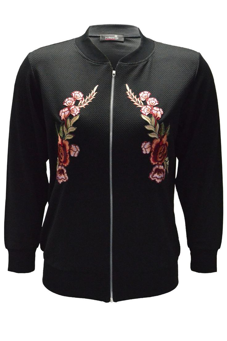 New Womens Bomber Jacket Ladies Floral Embroidery Flower Patch Ribbed Polka Dot | eBay