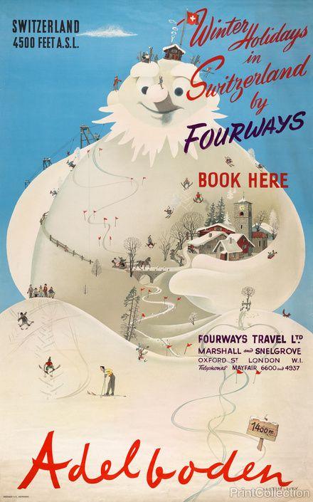 Winter Holidays in Switzerland by Herbert Leupin 1940's
