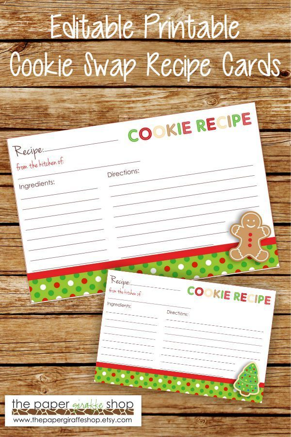 Editable Cookie Exchange Party Recipe Cards Editable And Blank Etsy Recipe Cards Christmas Recipe Cards Holiday Recipe Card