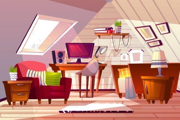 Girl Room At Garret Attic Vector Illustration Com Imagens