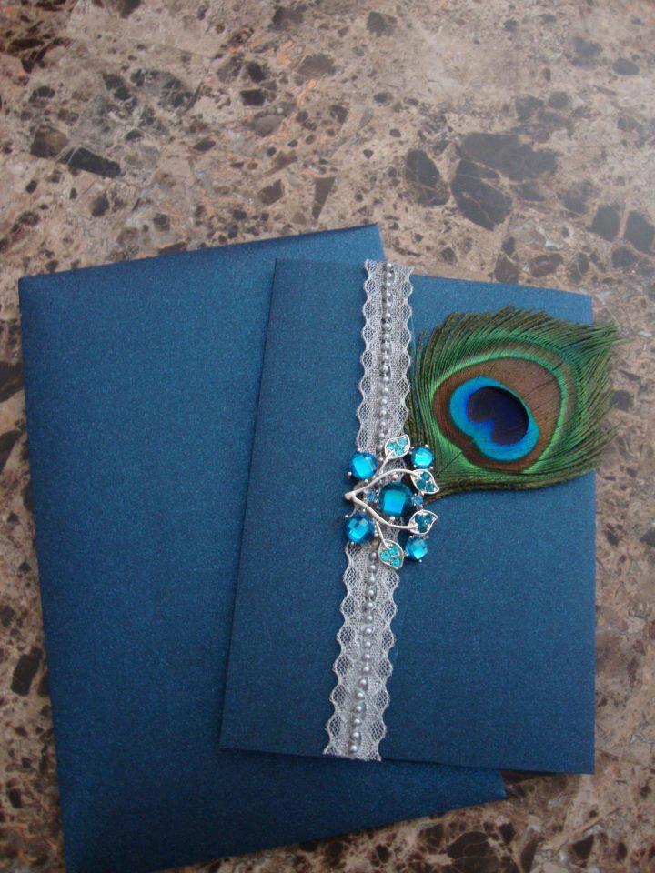 Peacock Wedding Clutch Invitation