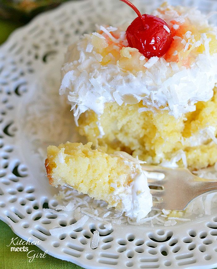 Piña Colada Poke Cake...can you guess what we'd serve this with? ;) http://skinnygirlcocktails.com/the-cocktails/pina-colada
