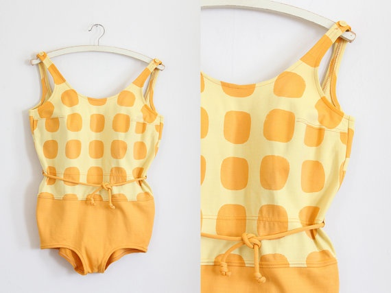 vintage 1960s swimsuit // 60s yellow bathing suit // yellow polka dot