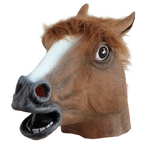 Horse Mask  Code: MOHS  Over the head horse mask. Ideal for any animal or farm themed party.