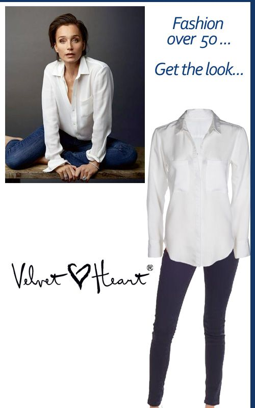 Fashion over Fifty - aim for chic and simple and classy. Like this white shirt and dark indigo jeans worn by Kristin Scott Thomas! Get the look at Velvet Heart with Bailey or James white shirt and our dark indigo skinnies!