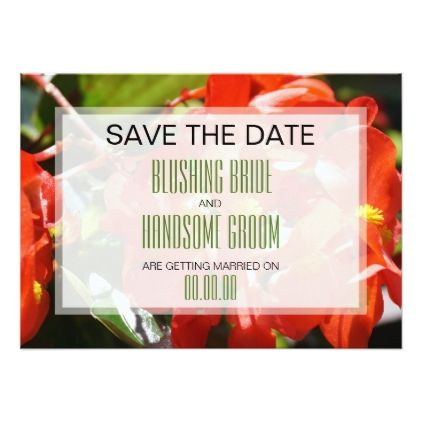 #Colorful Red Begonia Save the Date Card - #weddinginvitations #wedding #invitations #party #card #cards #invitation #photo