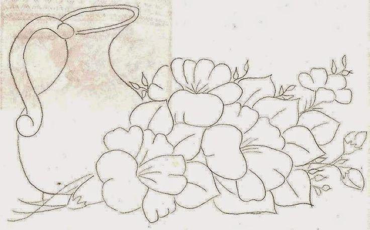 Pintura em tecido ,Pintura em tela, Riscos e desenhos para pintar e artesanatos: RISCOS FLORES 4