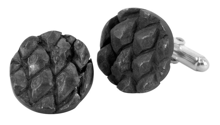 Pine cone cufflinks in oxidised sterling silver