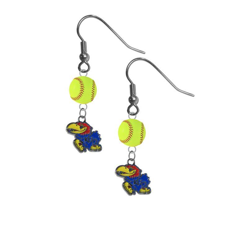 Kansas Jayhawks NCAA Fastpitch Softball Dangle Earrings