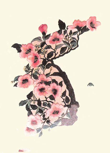 The Korean national flower, the rose of Sharon, in the shape of korea