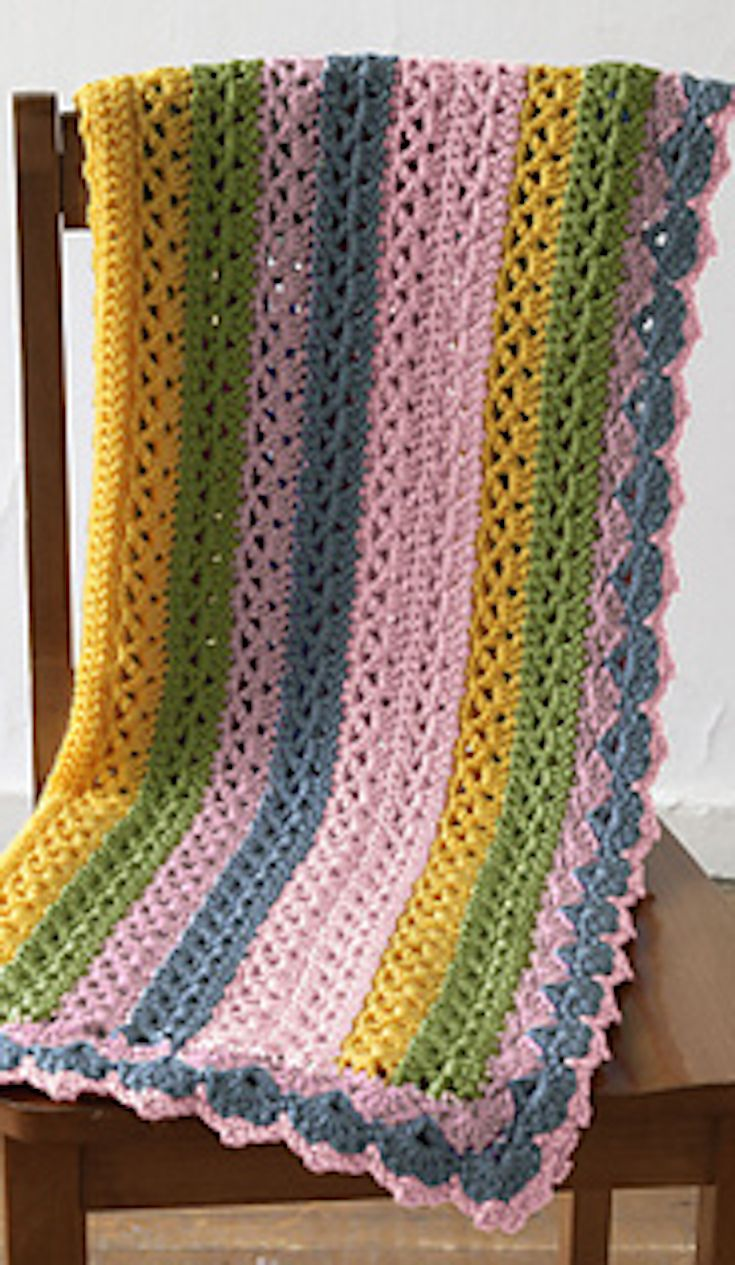 Light and Lacy Throws! 12 Free Crochet Patterns... (feat. Summer Stripes Baby Afghan from Lion Brand Yarn)
