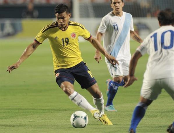 Teófilo Gutiérrez en partido amistoso de preparación al mundial 2014 que tuvo lugar en New Yersey. El marcador fue Colombia 4 Guatemala 1.