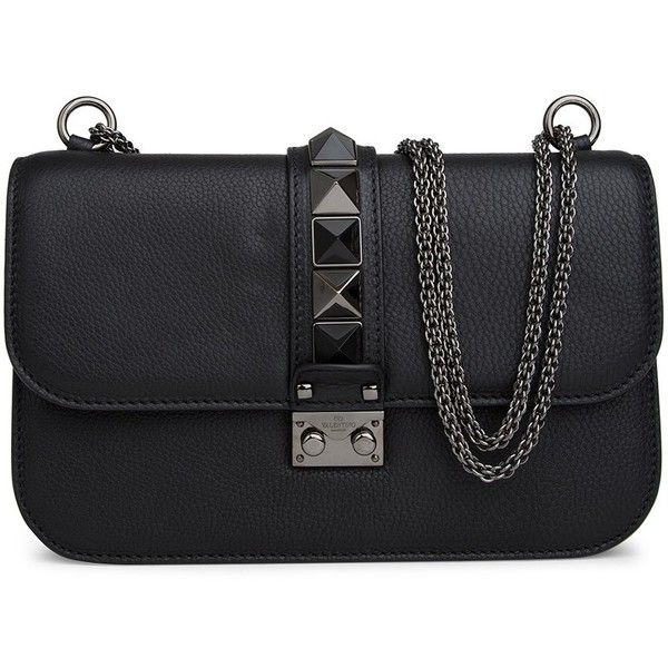 Valentino Medium Lock Bag (104,235 INR) ❤ liked on Polyvore featuring bags, handbags, studded purse, pattern purse, logo bags, locking purse and chain handbags