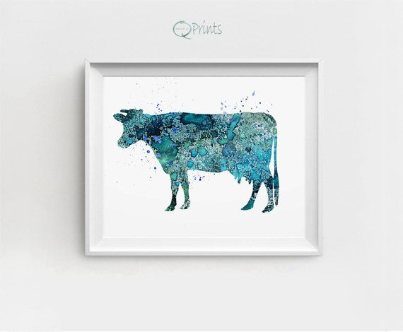 Cow Art Print Cow Printable Digital Cow Turquoise Cow