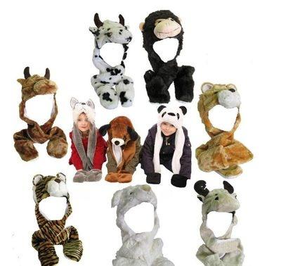 Cappello berretto sciarpa guanti animali  3 in 1 bambini donne Alce Leone Tigre