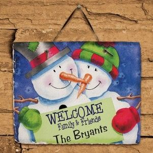 Slate Welcome Signs | ... Snow Couple Welcome Slate Plaque Family Name Christmas Welcome Sign