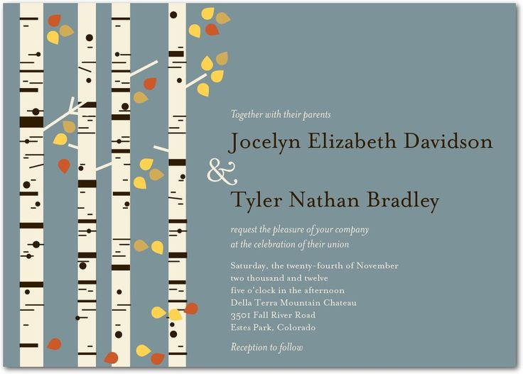 Birch Charm - Signature White Wedding Invitations in Pumpkin or Ore   Eleanor Grosch