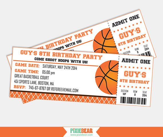Basketball Birthday Party Ticket Invitation by PixieBearParty on Etsy, $15.00
