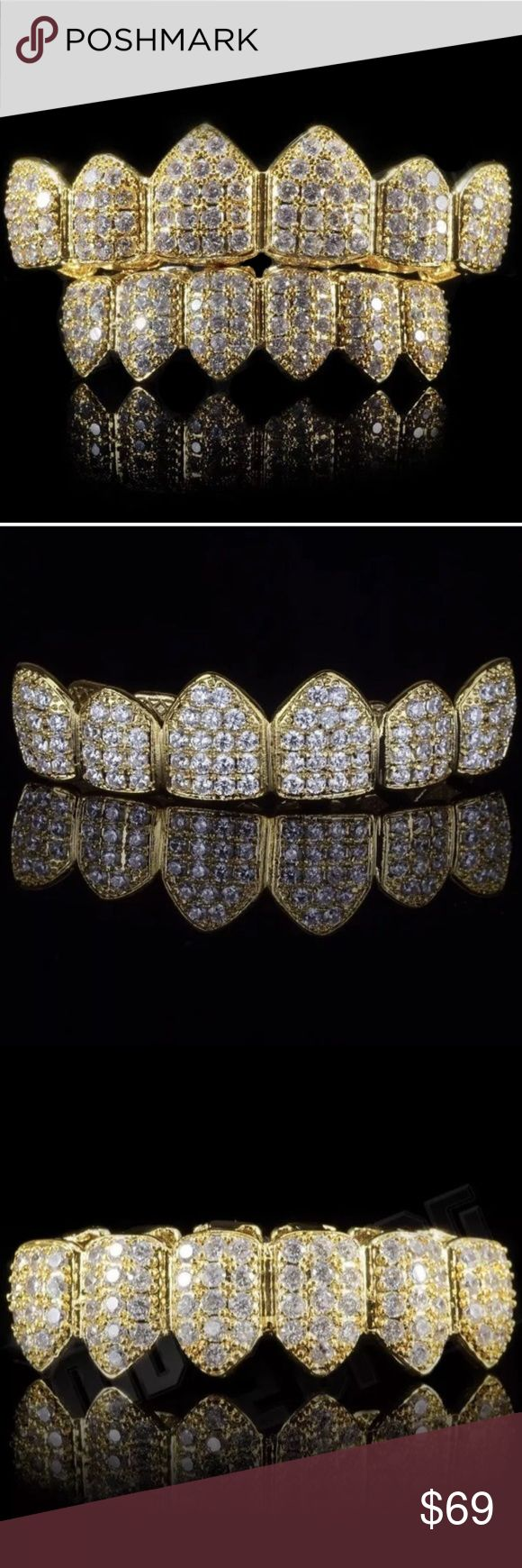 14k Gold ICED OUT CZ Diamond Grillz Set This is one of the most popular Grillz Sets on the market right now! Made of the highest quality materials get Iced Out today! Quick Shipping and superb quality!  14k Gold Plated (3x Electroplated) AAA High Grade Cubic Zirconia Micro Pave Stone setting Molds Included Primobling Accessories Jewelry