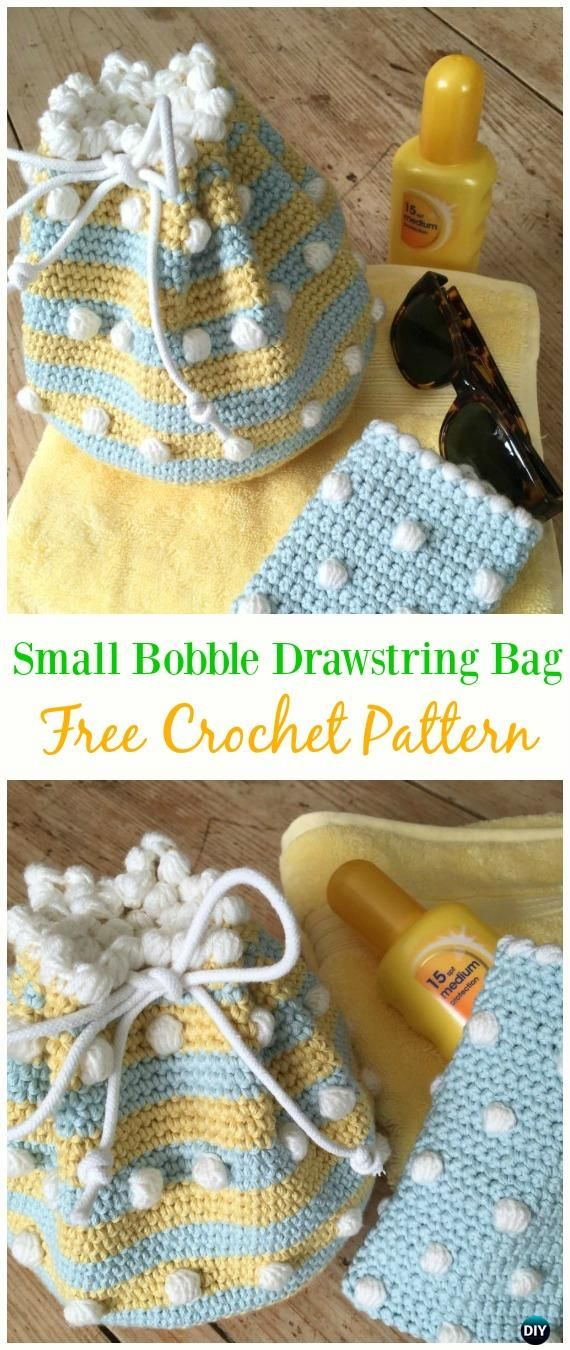 Small Bobble Drawstring Bag Free Crochet Pattern -#Crochet Drawstring #Bags Free Patterns