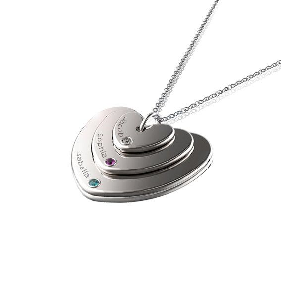 Stacked Heart Necklace with Kids Names Sterling by JonJonJewel, $80.00