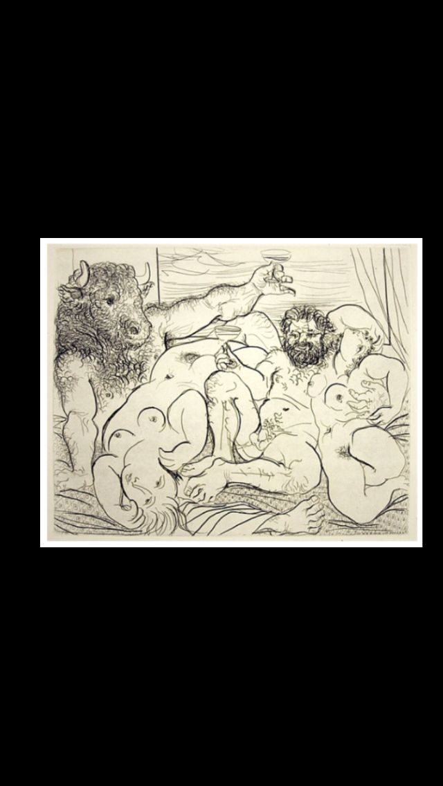 """Pablo Picasso - """" Scène bacchique au minotaure  """" - Etching on large format Montval laid paper, from the deluxe edition of 50 of the Suite Vollard - 29,8 x 36,7 cm (..)"""