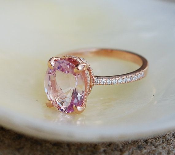 Blake Lively ring Peach Pink Sapphire Engagement by EidelPrecious