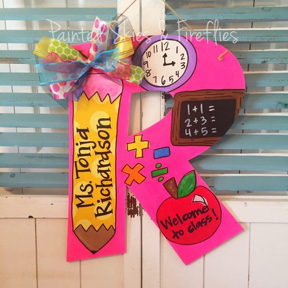 Teacher Door Hanger / Back to School / classroom decor / teacher gift by paintedskyfirefly