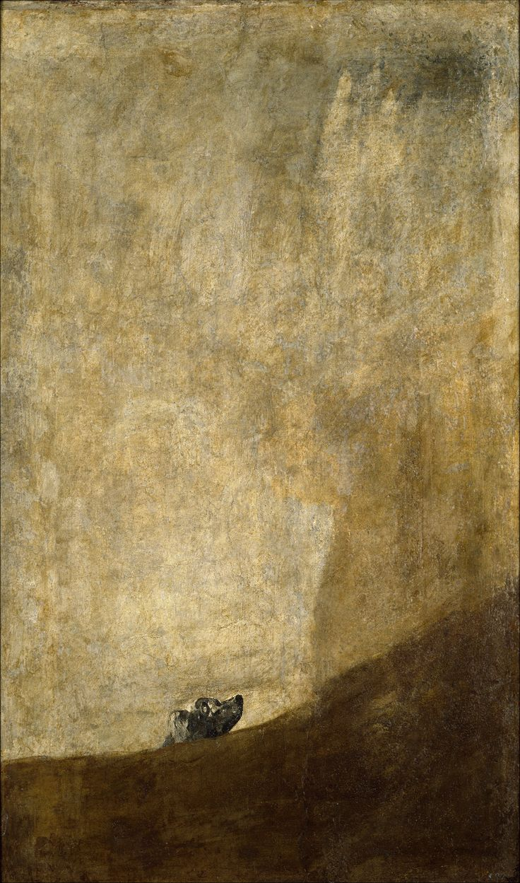 "Francisco de Goya: ""Perro semihundido"". Oil on canvas. 131 x 79 cm. Pinturas negras (Black Paintings), 1820-1823. Museo Nacional del Prado, Madrid, Spain"