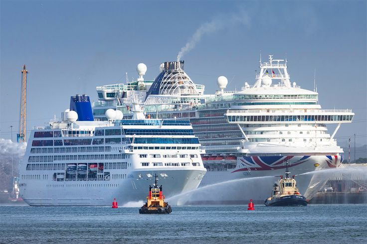 Pictured recently in #Southampton. Do you know the name of these two ships? Image P&O Cruises. #UK #Cruising