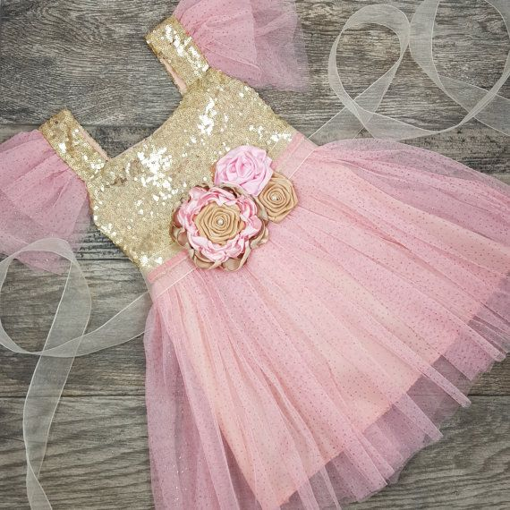 Pink Flower Girl Dress // Pink And Gold Dress by AdalynsBoutique