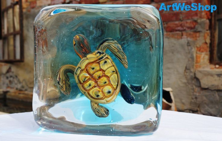 Glass Turtle Sommerso Sculpture, Handmade Sea Life Glass Sculpture, Italian Glass Ornament, Marine Life Venetian Glass Sculpture by Oball by ArtWeShop on Etsy