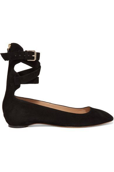 Valentino - Suede Ballet Flats - Black - IT35